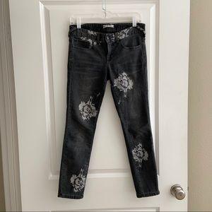 Free People Black Skinny Jeans White Large Flowers